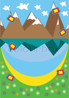 Landscape with mountain lake vector colourbox - Impressive house with tranquil environment to get total relaxation ...