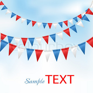 Holiday background with birthday flags. Vector