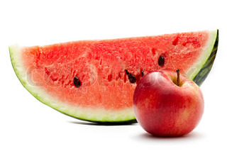 Watermelon and red apple on the white background