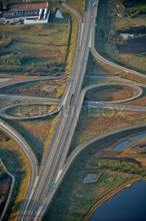 Image of 'Denmark, aerial, Highway intersection at Herning'