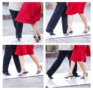 collage of a couple dancing the tango in the streets of Buenos Aires