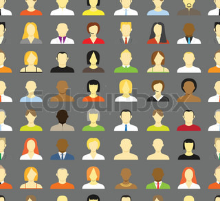 Collection of an account icons of men and women Seamless background