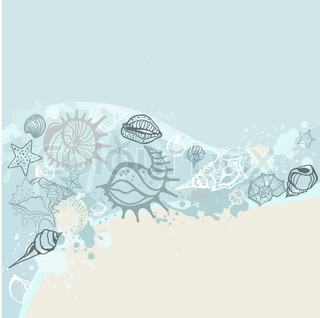 Sea background Hand drawn vector illustration