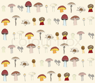 seamless mushrooms pattern