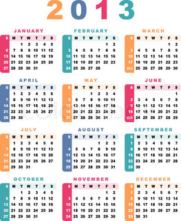 Calendar 2013 week starts with sunday