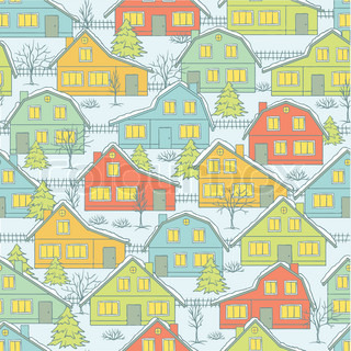Seamless Christnas pattern with houses and trees in winter