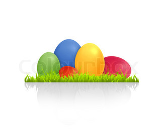 High resolution graphic of colorful easter eggs laying in grass
