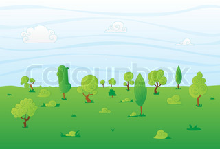 Vector illustration of landscape with abstract green trees