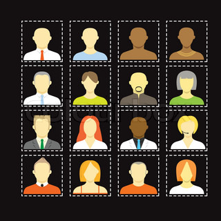 Collection of an account icons of men and women Different nationalities