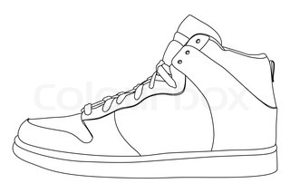 black outline vector shoes on white background stock vector