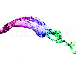 colour splashing water