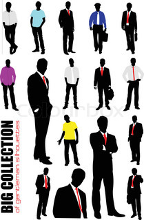 Big collection of gentlemen in office over white background Vector illustration All figure separeted