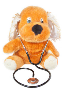 A teddy bear with stethoscope pediatrician On a white background
