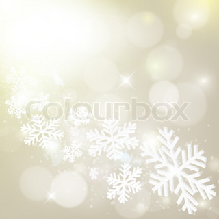 Abstract grey winter background with snowflakes and stars