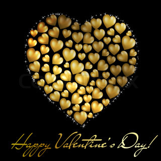 Abstract golden heart on black background Valentine's day postcard
