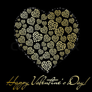 Abstract golden heart on black background Valentine's day greeting card