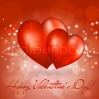Valentine's day greeting card with two red hearts