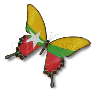 Myanmar flag on butterfly isolated on white