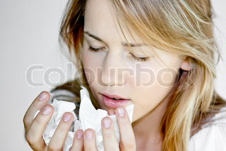 teen woman with cold