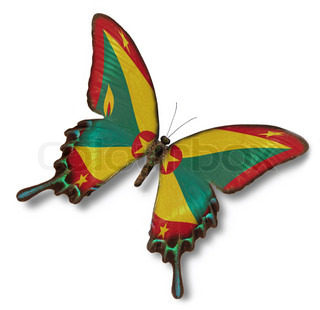 Grenada flag on butterfly isolated on white