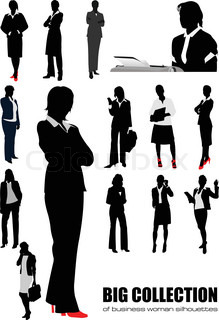 Big collection of business woman silhouettes Vector illustration