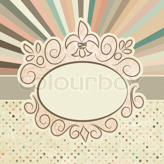 Template with retro sun burst and olka dot EPS 8