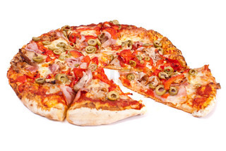 Excellent pizza with mozzarella, ham, pork, pickled peppers, olives isolated on white background