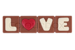 The word love and heart for a chocolate bar