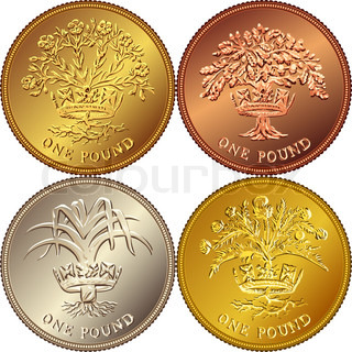 Vector set British money gold coin one pound
