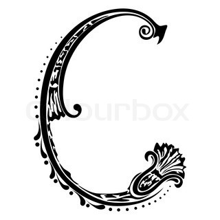 Initial letter C on a white background