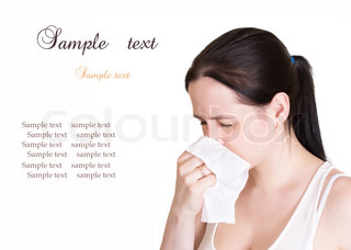 Infected woman blowing his nose, isolated on white background