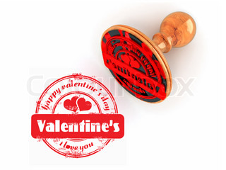 Stamp happy valentine's day on white isolated background 3d