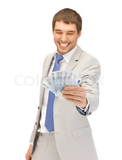 handsome man with euro cash money