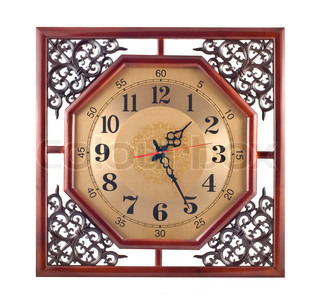 Antique wall clock with carved wooden frame