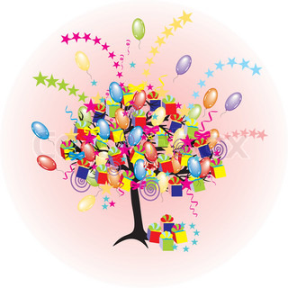 cartoon party tree with baloons, gifts, boxes for happyevent and holiday