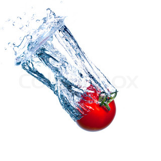 Red Tomato Falls under Water with a Splash