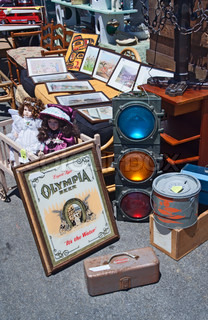 Flea market. Old traffic light.