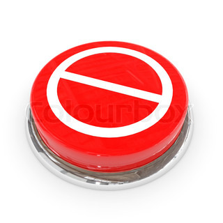 Red round button with not allowed sign
