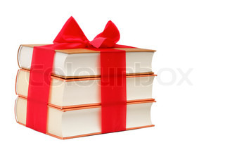 Book as a gift A stack of books on a white background