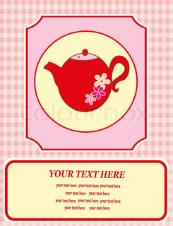 vintage card with teapot vector illustration