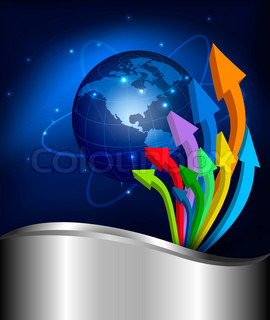 Business elegant abstract background with graph and globe   illustration