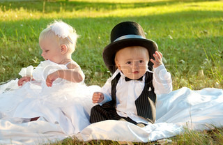 Children dressed as bride and groom