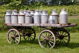 Old-fashioned milk transport.