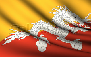 Flying Flag of Bhutan  All Countries Collection