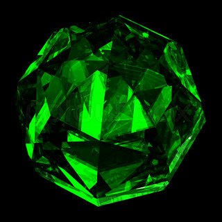 Precious gemstone emerald with shape of a ball.