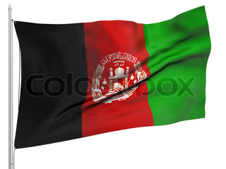 Flying Flag of Afghanistan - All Countries