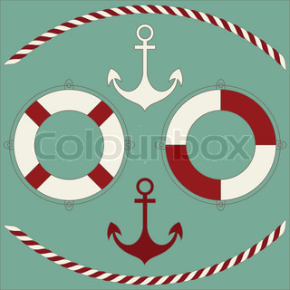 Vector of 'nautical, icons, group'