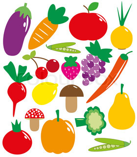 set of fruits and vegetables vector illustration