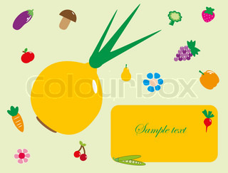 Lovely frame with fruits and vegetables vector illustration