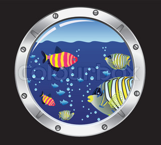 vector porthole and colorful fishes